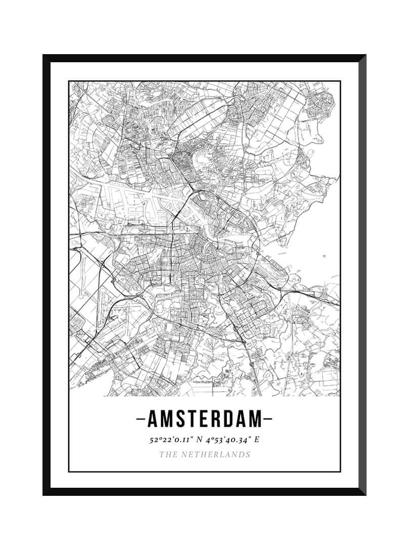 Poster met plattegrond van Amsterdam