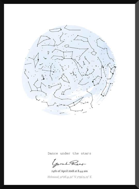 Starmap poster met sterrenhemel in pastel blauw