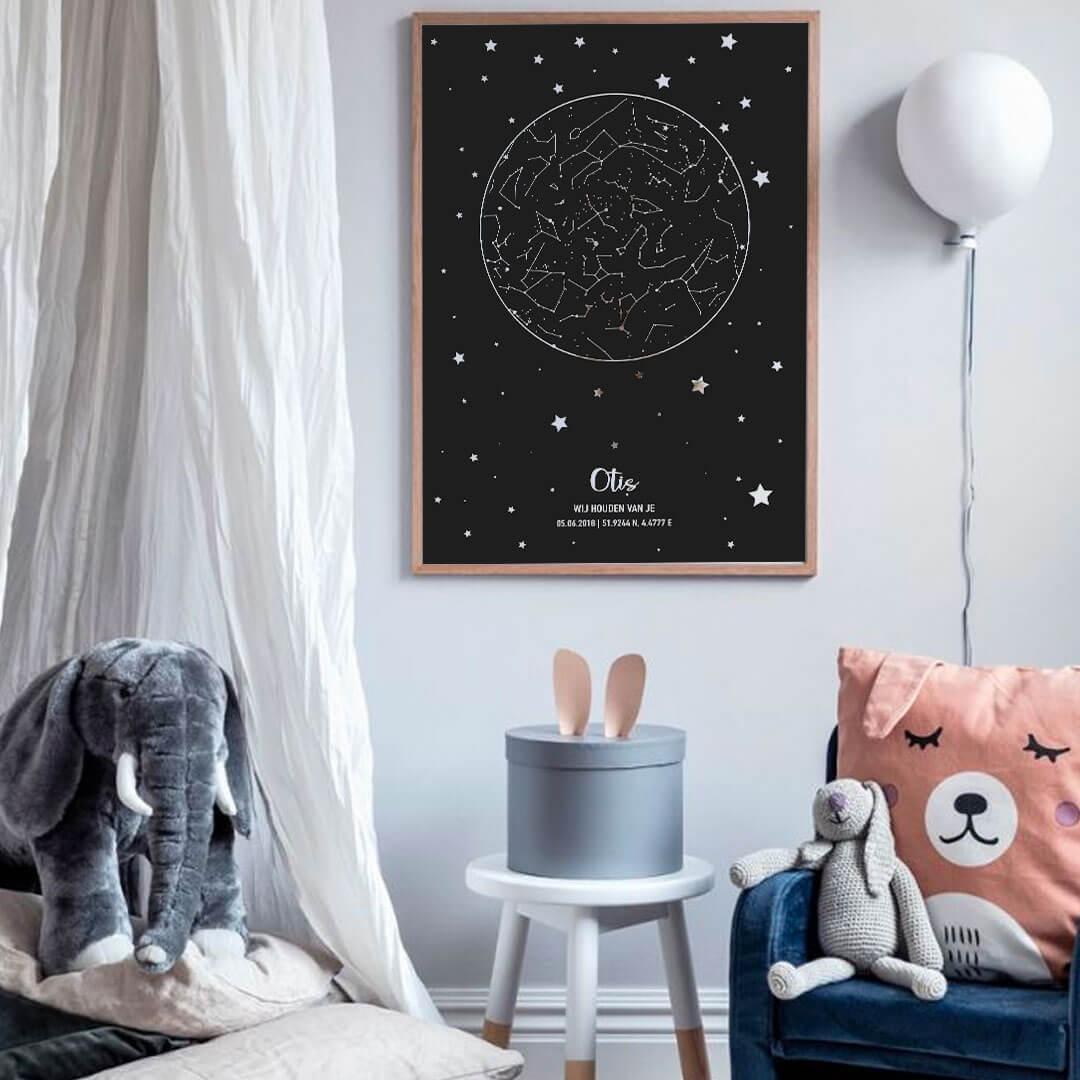 Babykamer poster met sterrenhemel en sterren