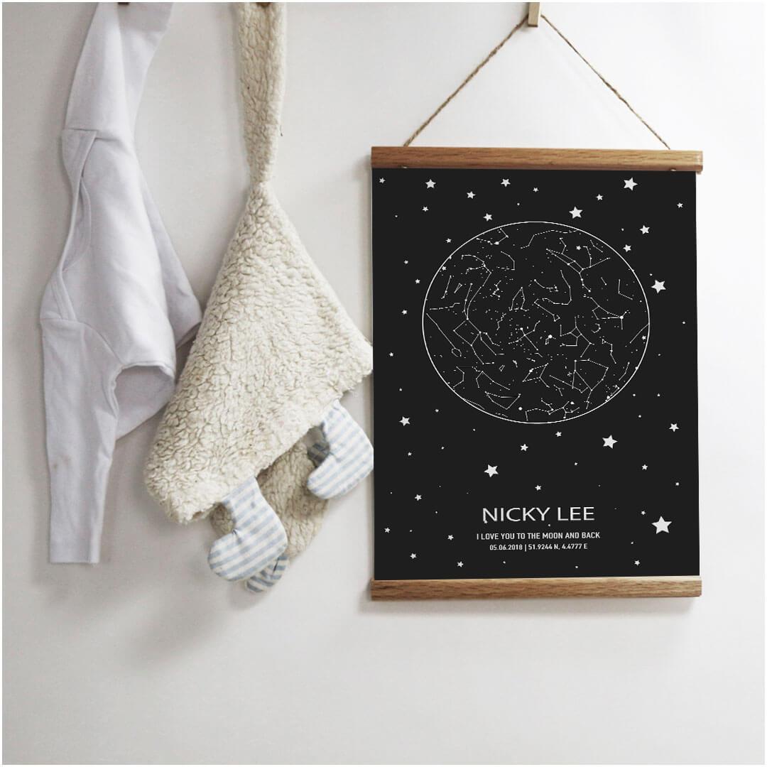 Starmap poster met sterren voor de kinderkamer